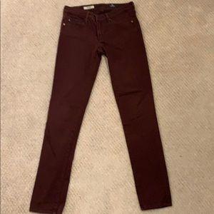 AG Stretch sateen skinny jeans - Oxblood